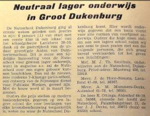 Advertentie in het Dukenburgs Nieuwsblad 1969